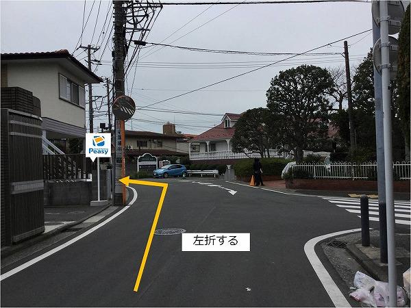 通りを道なりに進み左折、駐車場敷地内に入る。