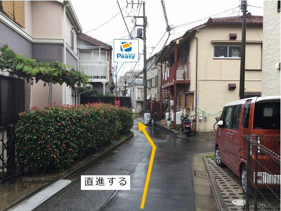 前面道路を道なりに進みます。駐車場前面道路は平日の7:30~9:00まで車両通行禁止ですので、ご利用時はご注意下さい。