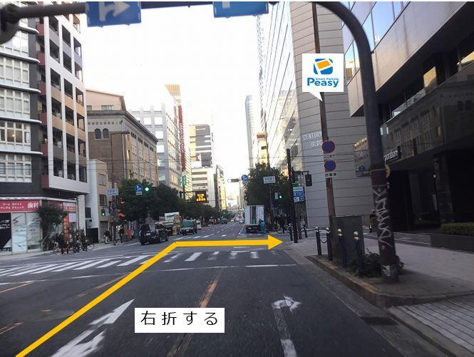 四つ橋筋より京町堀1交差点を曲がります。