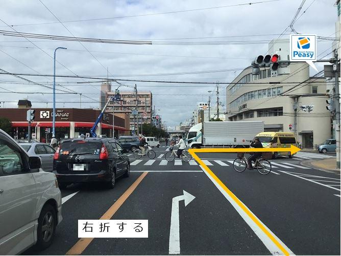 内環状線より大桐2交差点を曲がります。