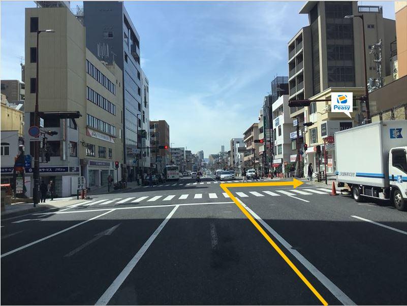 大通りより曲がります。