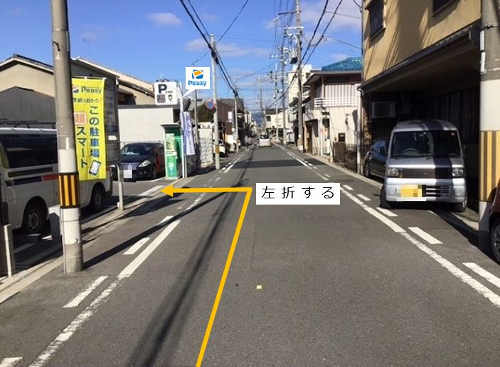 通りを直進します。