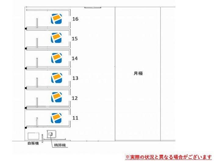 駐車場レイアウトです。11番~16番車室がPeasy車室となります。※実際の状況と異なる場合がございます