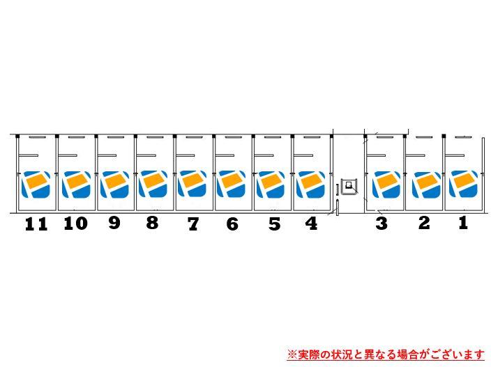 駐車場レイアウトです。1番~11番車室がPeasy車室となります。※実際の状況と異なる場合がございます。
