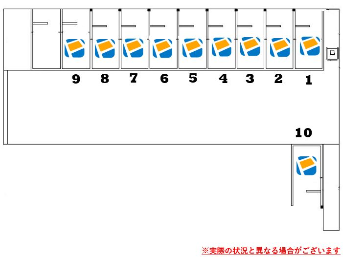 駐車場レイアウトです。1番~10番車室がPeasy車室となります。※実際の状況と異なる場合がございます。